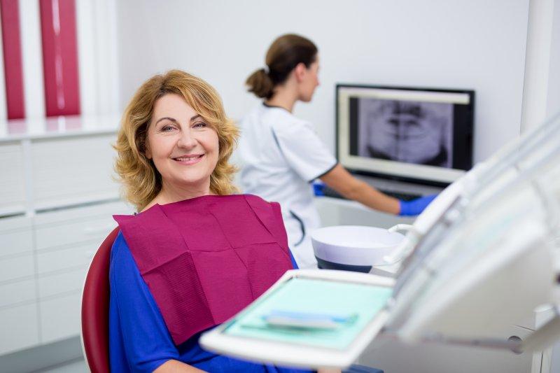 A woman visiting a mercury-free dentist.