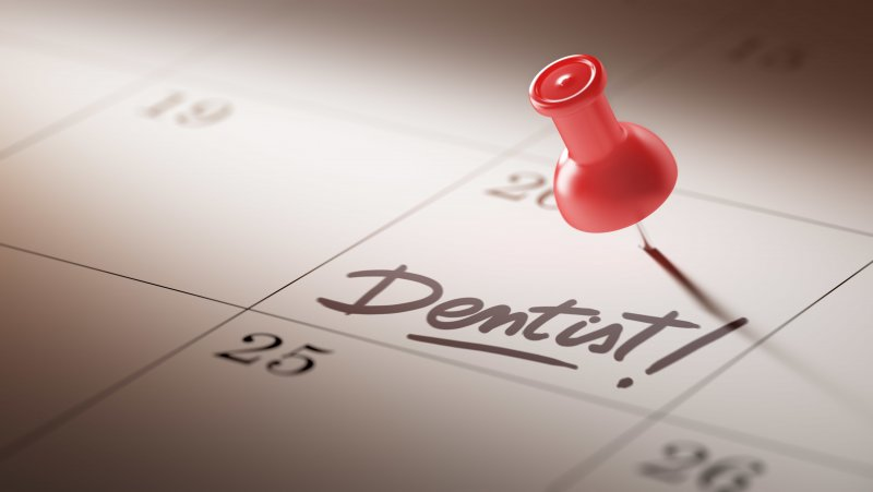 A calendar with a dental checkup reminder recorded on it.
